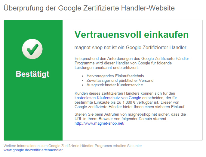 """""""Google zertifizierter Händler"""""""