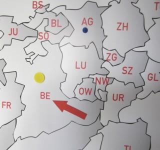Große Schweizer-Karte auf Ferro-Haft-Folie mit 1500 x 900 mm