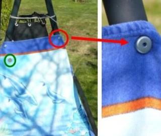 Praktischer Handtuchhalter mit Magnete bei einer Gartenliege