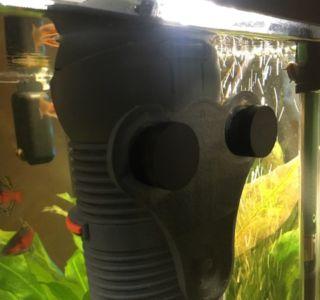 Innenfilter im Aquarium, befestigt mit Magneten