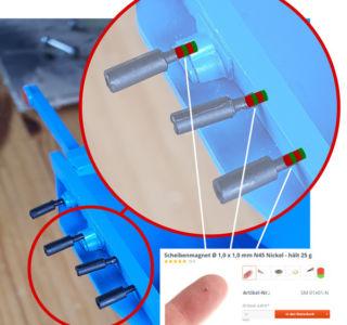 Anbringung der Magnete - Detail