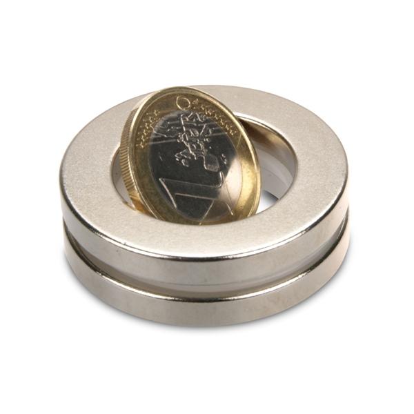 hält 8 kg Ringmagnet Ø 40,0 x 25,0 x 5,0 mm N42 Nickel