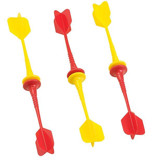 magnetische dartpfeile im 6er set je 3 st ck in gelb und rot. Black Bedroom Furniture Sets. Home Design Ideas